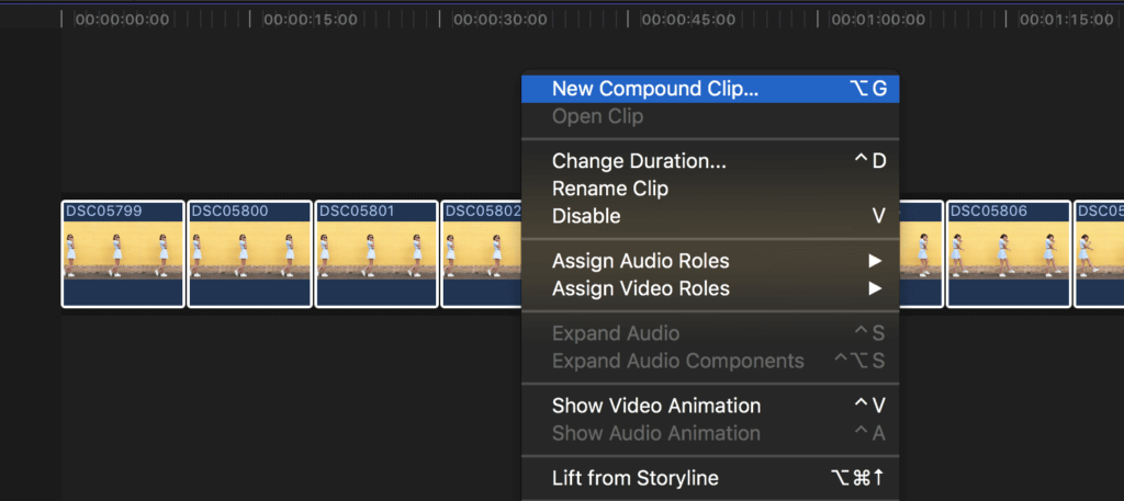 how to create compound clip final cut